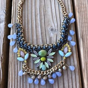 LOFT Crystal Woven Beaded Statement Necklace WOW!